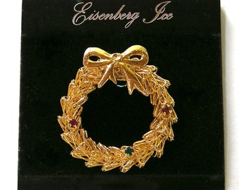 EISENBERG ICE Vintage Holiday Brooch Pin, Gold tone, Christmas wreath, Gift Quality