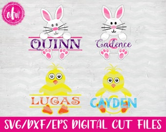Split & Monogram Bunny and Chick Package, SVG, DXF, EPS, Easter, Cut Files, Vinyl, Silhouette, Cricut, Spring, Monogram Frame, Bucket