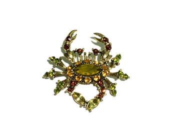 Rhinestone Brooch, Crab Brooch, Animal Brooch, Acrylic brooch, 1 pc