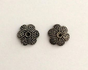 2 Sterling Silver Bead Caps, 925 Sterling Silver