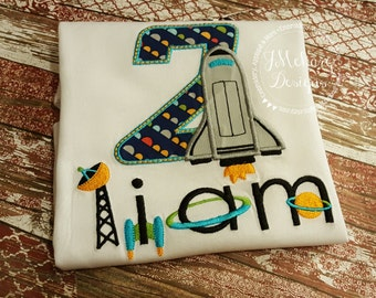 Space Birthday Shirt - Rocket Ship Birthday Shirt -  Custom Tee Personalized Birthday Tee 23a