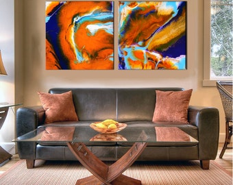 Extra Large Wall Art   Oversize Print   Abstract Diptych   Canvas Print   Resin Art Painting   Office Wall Decor   Contemporary Abstract Art