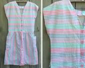 Vintage dress | 1980s pastel striped spring sleeveless plus size cotton sundress