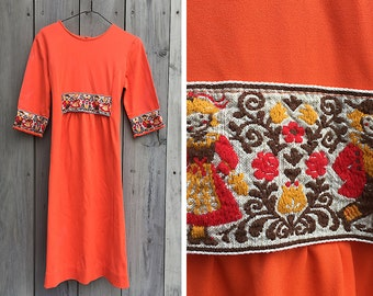 Vintage dress | 1970s boho embroidered tangerine knit dress