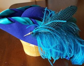 Pirate bicorn - royal blue vegan wool hat with turquoise satin ribbon trim.