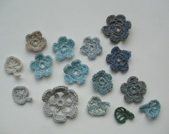 10 Linen Crochet Applique Flowers with 5 Leaves Natural Grey Dove Gray Green