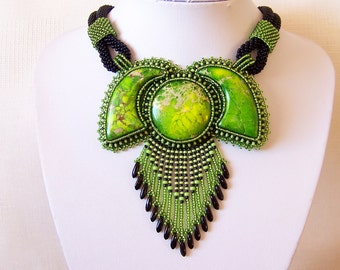 Statement Beadwork Bead Embroidery Pendant Necklace - GARDENS OF PARADISE - Green Sea Sediment Jasper - green and black necklace