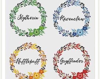 Hogwarts Four House Floral Crests - Harry Potter Cross stitch pattern PDF Instant Download