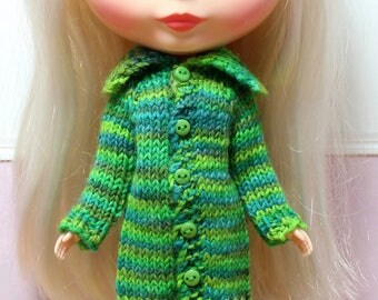 BLYTHE doll hand knit long sweater coat - green mix
