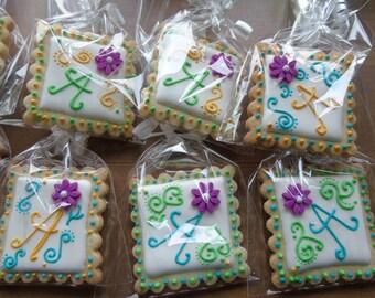 Fiesta, Letter, Bridal Shower, Wedding, Birthday Swirl Decorated Sugar Cookie - 1 Dozen