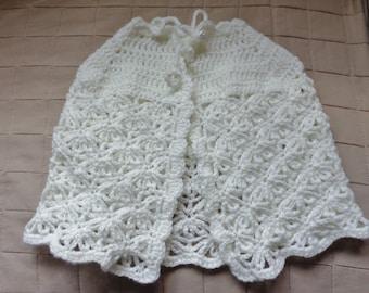 Baptism Cape / Communion Cape / White Crocheted Cape for Girls / Handmade Poncho / Flower Girl Cape / Baby Shower Gift /
