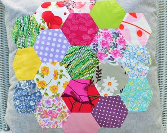 Multi Coloured Hexie Cushion