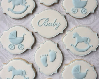 Elegant Baby Boy Shower Cookies - One Dozen (12) Decorated Sugar Cookies