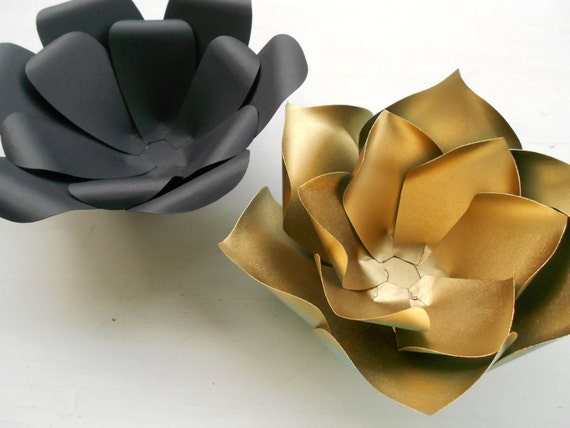 Black and gold paper flower set of 6 glam wedding party new years il570xn mightylinksfo Gallery