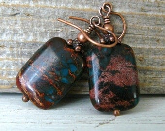Copper and Turquoise Earrings, Imperial Agate Dangles, Gemstone Earrings, Rectangle Stone Earrings, Rustic Boho Jewelry