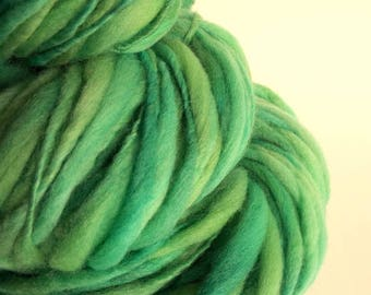 Thick and Thin knitting yarn, handspun chunky merino knitting wool, pale turquoise green, mint green, bulky thick wool