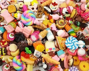 Grab Bag of Food Themed Resins Cabochons Flat Back Acrylic Embellishment Lollipop Cupcake Macaroon Chocolate Donuts Ice Cream Dessert Dinner