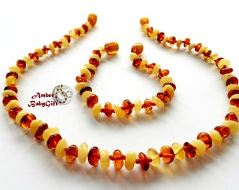 "SALE->Amber Baby Teething Necklace 12.5""-13.0"" and Bracelet / Anklet 5.5""- 5.9"" - Milky and Cognac Amber Beads - Screw Clasp, 5R"