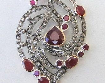 14 k solid gold emerald & diamond stone pendant amulet