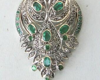Victorian Diamond & Emerald 14k Gold Silver Pendant India