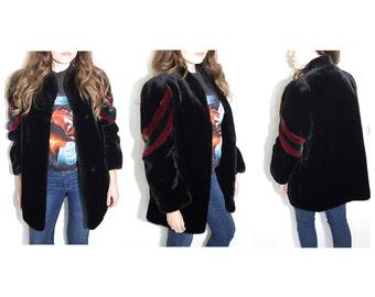 Vintage 70s 80s black faux fur coat jacket colorblock fur coat