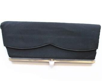 Vintage Black Clutch with Silver Frame, Graceline Designer, Circa 1940's