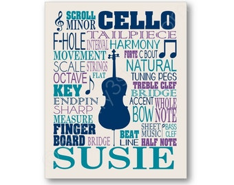 Cello Typography Canvas or Art Print, Choose Any Colors, Perfect Gift for any Music Lover or Cellist, Cello Canvas, Cello Teacher Art