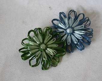 Vintage Raffia Brooch Set / 1970s Flower Brooches / Hand Made Floral Brooches /  Bohemian Big Flower Lapel Pins / 1970s Vintage Jewelry