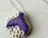 Dark Purple on Light Purple Enamel Mermail Tail Necklace - Enamel Jewelry, Mermaid Jewelry, Whale Tail, Dolphin Tail, Dolphin Jewelry