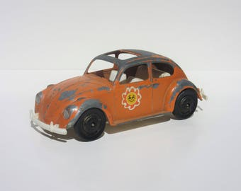 Vintage Toy Hubley Orange Volkswagen Car Beetle Bug Mighty Metal Die-cast Vehicle With Plastic Bottom, Sun Stickers Chippy Paint Home Decor