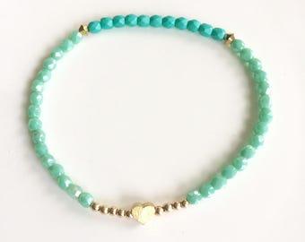 Turquoise Czech Glass beaded bracelet