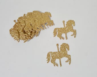 Carousel Die Cut outs gold or silver glitter count of 30 party decor confetti craft supplies