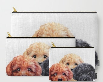 Pouch, Toy poodle trio  print on both sides, carry pouch