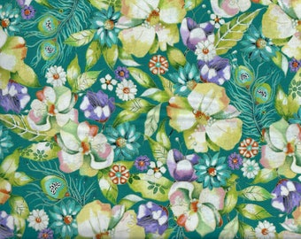 Pretty as a Peacock fabric - Floral - teal green blue purple flowers metallic gold - Kate Follows Quilting Treasures - continuous YARDS