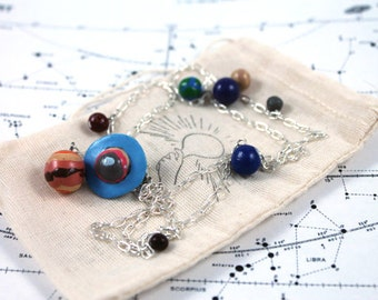 Solar System Necklace with Scaled Distances