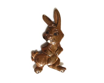 Vintage Bunny Rabbit Pin Brooch Copper w Enamel Cute Animal Figural Jewelry