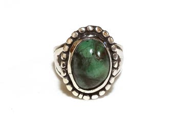 Vintage Turquoise Ring Sterling Silver Green Blue Stone Native American Sand Cast Jewelry Size 6 Pinky Ring