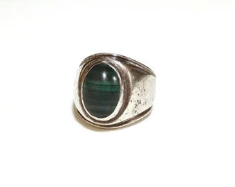 Big Vintage Malachite Ring Sterling Silver Native American Southwest Jewelry Green Stone Size 6.75 Mens Mans Unisex Ring Heavy 17 grams