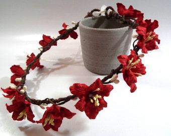 Red Lily Floral Crown/ Head Piece/ Traditional/ Bridal/ Wedding Hair Accessories/ Bridesmaid Hair Piece/ Wedding Flower Crown
