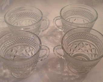 Punch Coffee Tea Cup Anchor Hocking Wexford Pressed Glass Set of 4