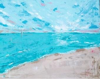 Original Fine Art Beach Landscape Acrylic Painting Wall Art 16 x 20 inches Canvas