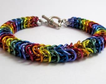 Rainbow Bracelet - Box Chain / Inca Puno Chainmaille - Handmade Rainbow Chainmail Bracelet - Gay Pride - LGBT