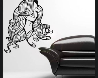 Womans head and hair vinyl wall decal sticker