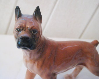 Brown boxer figurine, dog statue, black muzzle, ceramic boxer, 50s 60s mid century, collectible, gift for dog lover, 1482