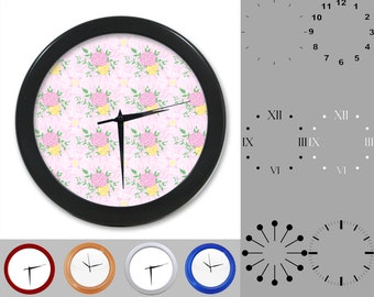 Pastel Rose Wall Clock, Mixed Flower Design, Classic Floral, Customizable Clock, Round Wall Clock, Your Choice Clock Face or Clock Dial