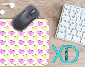 Coffee Cup Mouse Pad, Coffee Cup Mousepad, Java Rectangle Mouse Pad, Pink, Yellow, Java Circle Mouse Pad, Coffee Cup Mat, Computer, Brunch