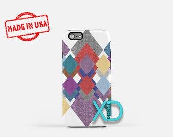 Fabric Patchwork iPhone Case, iPhone Case, Patchwork iPhone 8 Case, iPhone 6s Case, iPhone 7 Case, Phone Case, iPhone X Case, SE Case New