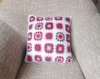 Crochet Pillow, Granny Square Cover Pillow, Decorative Pillow, White Pink and Grey Handmade Home Decor 18x18