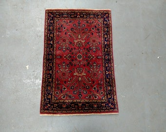 Oriental Rug - 1990s Vintage, Hand-Knotted, Indo-Sarouk Rug (3656)