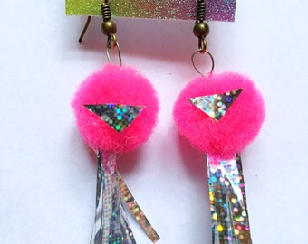 Holographic pom earrings